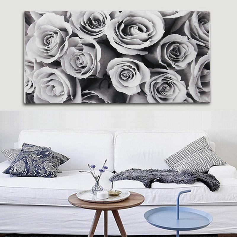 18x32'' Large Rose Black White Wall Art Picture