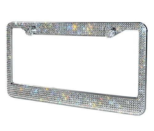2 Luxury Handcrafted Bling White Rhinestone Stainless License Frame GiftBox Over 1000 pcs Finest 14 Facets Anti-Theft Cap