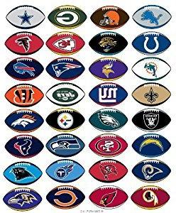NFL Licensed Stickers Football Shape Complete Set of all 32