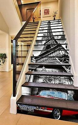 3D Eiffel Tower Car Stair Risers Decoration Photo Mural Viny