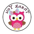 """48 Thank You Owl Pink!!  ENVELOPE SEALS LABELS STICKERS 1.2"""""""