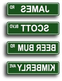 Personalized Name Street Sign - 4 x 18 Aluminum