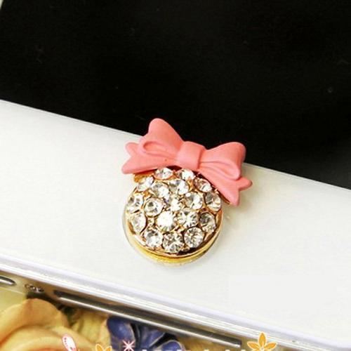 Pink bow with Bling Rhinestone Home Button Sticker for iPhon