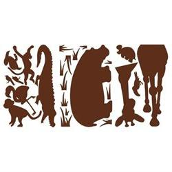 Animal Silhouettes Giant Peel and Stick Wall Sticker in Brow