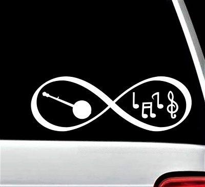 banjo bluegrass music notes infinity decal sticker
