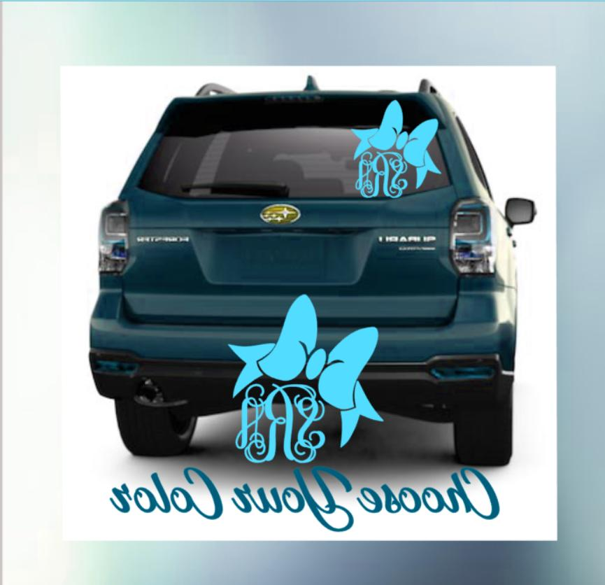 car truck monogram personalized decal window vine