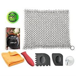 KitchWhiz Cast Iron Cleaner Stainless Steel Chainmail Set wi