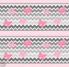Chevron Wallpaper Border Wall Art Decals Girl Pink Gray Ombr