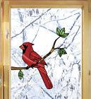 CLR:WND - Cardinal Bird Stained Glass Style See-Through Viny