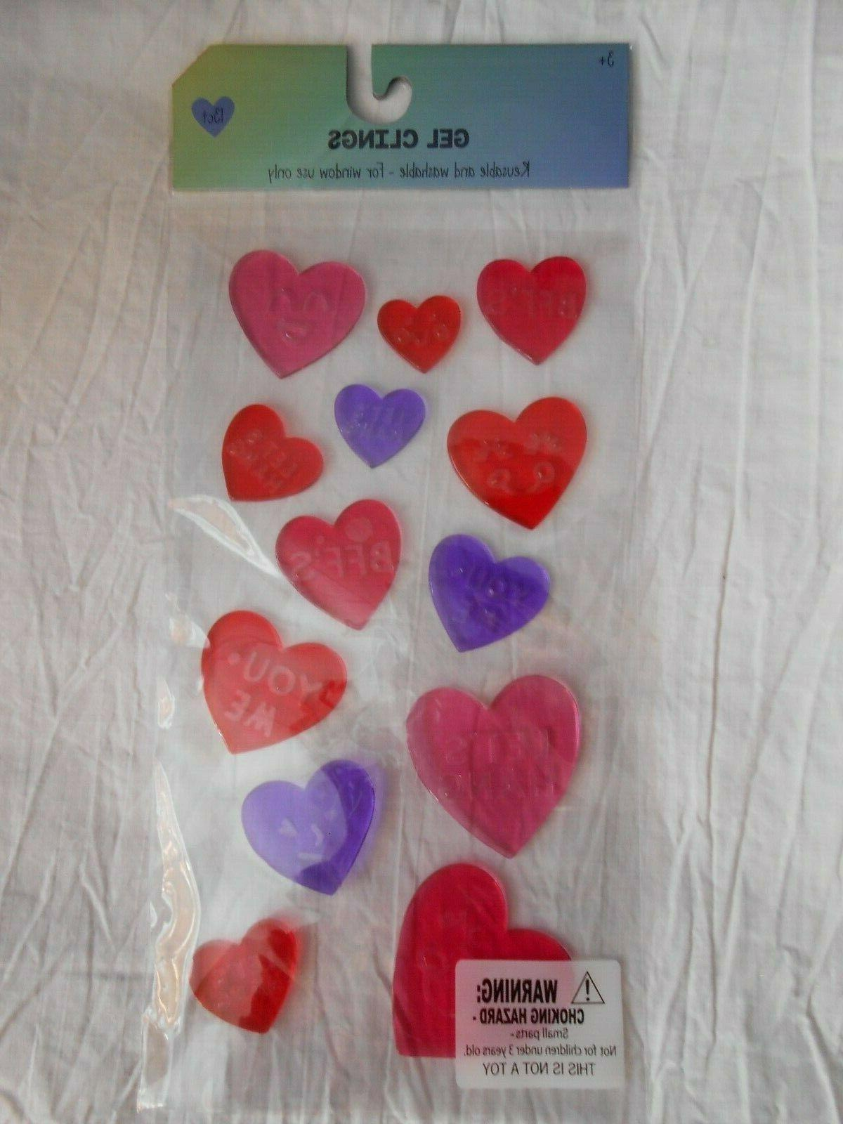 Conversation Heart Valentine's Day  Window Gel Cling Party C