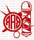 Custom  Barber Shop Monogram Decal Your Initials 3 Letters S
