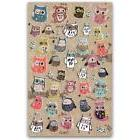 CUTE OWL STICKERS Sheet Bird Animal Korean Paper Kid Craft S