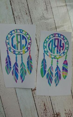 Dream Catcher h with initials. decal.
