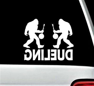 dueling bigfoot with banjo bluegrass decal sticker