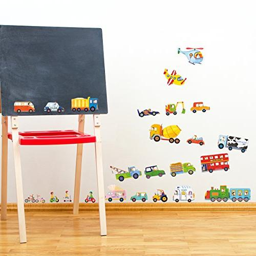 DECOWALL Transports Kids Wall Decals Wall Stickers Peel Removable Room