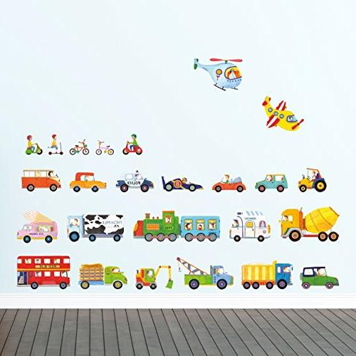 DECOWALL DW-1405 The Transports Kids Stickers Peel Removable Stickers for Kids Room