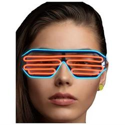JenniWears El Wire Neon LED Light Up Shutter Party Glasses B