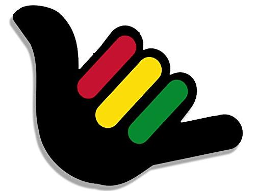hang loose hand shaped with rasta stripes