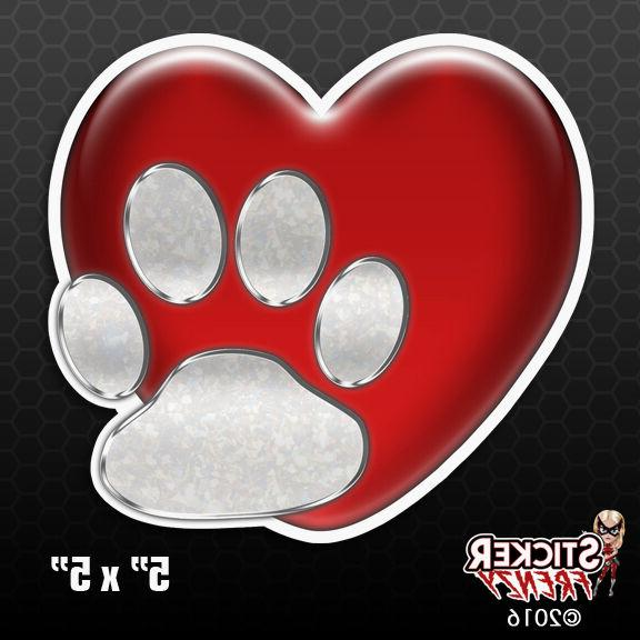 heart and dog paw love bumper sticker