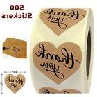 "1.5"" Heart Shape Thank You Label Adhesive Paper Kraft 500 St"