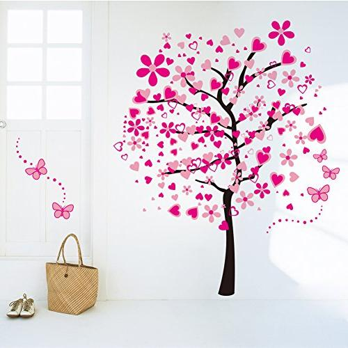 ElecMotive Huge Heart Tree Butterfly Decals Removable Wall Decor Decorative Girls Kids Bedroom