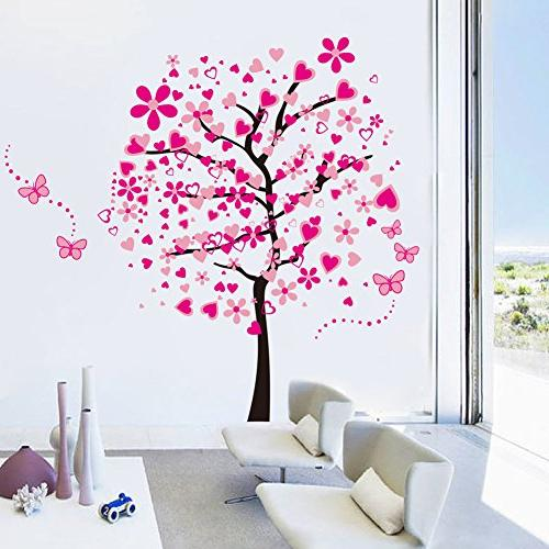 ElecMotive Huge Heart Butterfly Decals Decor Decorative Painting Wall Treatments Stickers Girls Room Bedroom