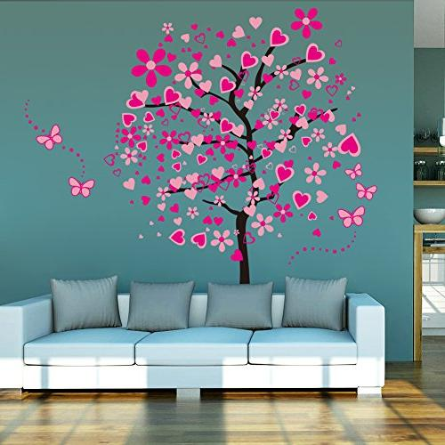 ElecMotive Heart Tree Butterfly Wall Decals Decorative Painting Supplies Girls Living Bedroom