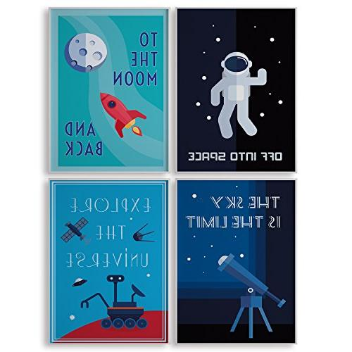 limited edition kids room decor set four space posters moder