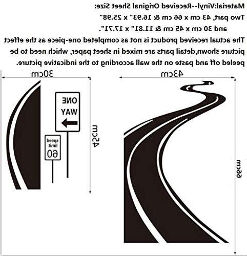 """Sticker Limit Sinuous Road Decal Signboard Decor,22.44"""" 27.55"""""""