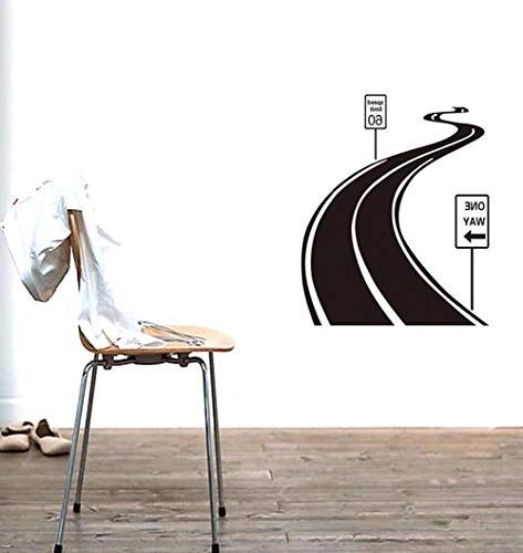 """BIBITIME Sign Sticker Sinuous Wall Decal ONE WAY Arrow Signboard x 27.55"""""""