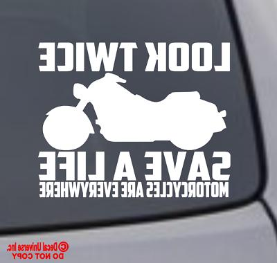 look twice save a life motorcycle vinyl
