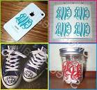 Monogram Initials LOT of 4 - Vine Font U CHOOSE COLOR & SIZE
