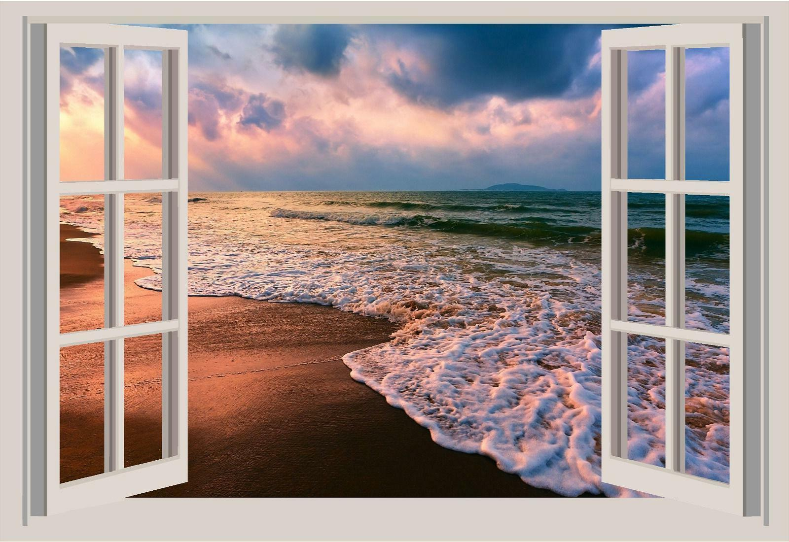 Ocean Waves Beach Sand Window View Color 3D Wall Sticker Wal