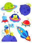 Outer Space Kids Wall Decal Aliens Ufo :Planets Mural Wallie