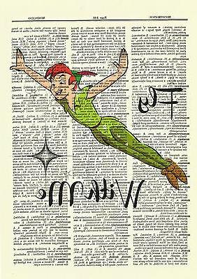 Peter Pan Print Poster Picture Book Disney Quote Fly Me