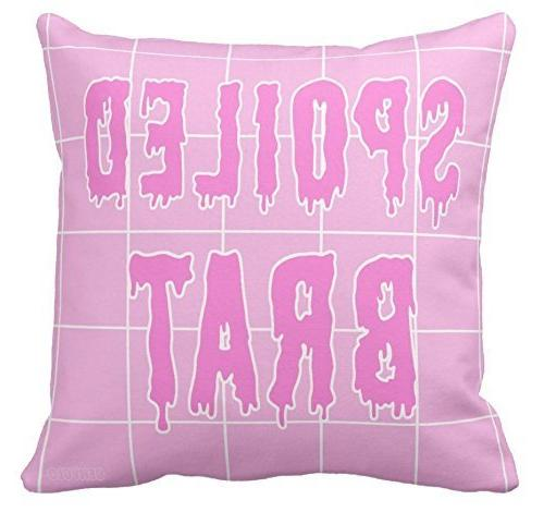 pink grid aesthetic pillow spoiled