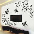 Removable Black Vinyl Butterfly Vine Flower Wall Decal Stick