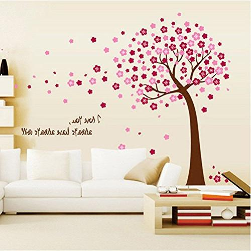 removable pvc pink cherry blossom