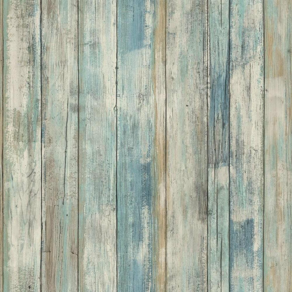 RMK9052WP Blue Distressed Wood Peel and Stick Wallpaper FREE