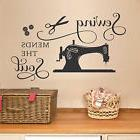 SEWING MENDS THE SOUL Vinyl Saying Wall Decal Quote Art Craf