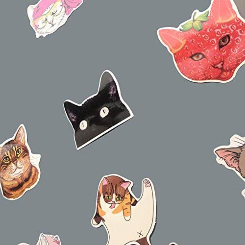 Homyu Stickers Pack 50-Pcs Decals of Cat Cars Motorcycle Ipad