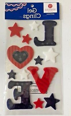 Summer Patriotic USA Red white  Blue Stars Window Gel Sticke