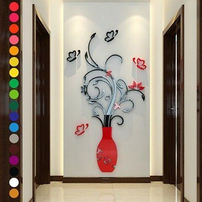 83cbacfed4d4 DIY 3D Vase Flower Crystal Arcylic Wall Stickers Decal Home