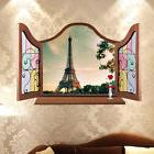US Stock Fake window Eiffel Tower Paris Art Wall Sticker roo