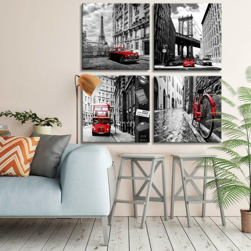 Wall Canvas Prints Pieces Framed Black Red