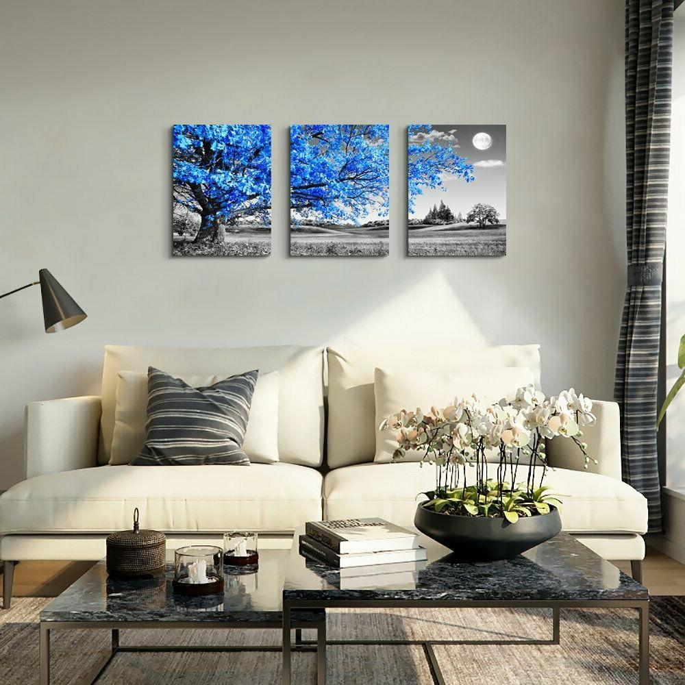 Wall For Room and white Blue tree Canvas Wall Decor for Ho