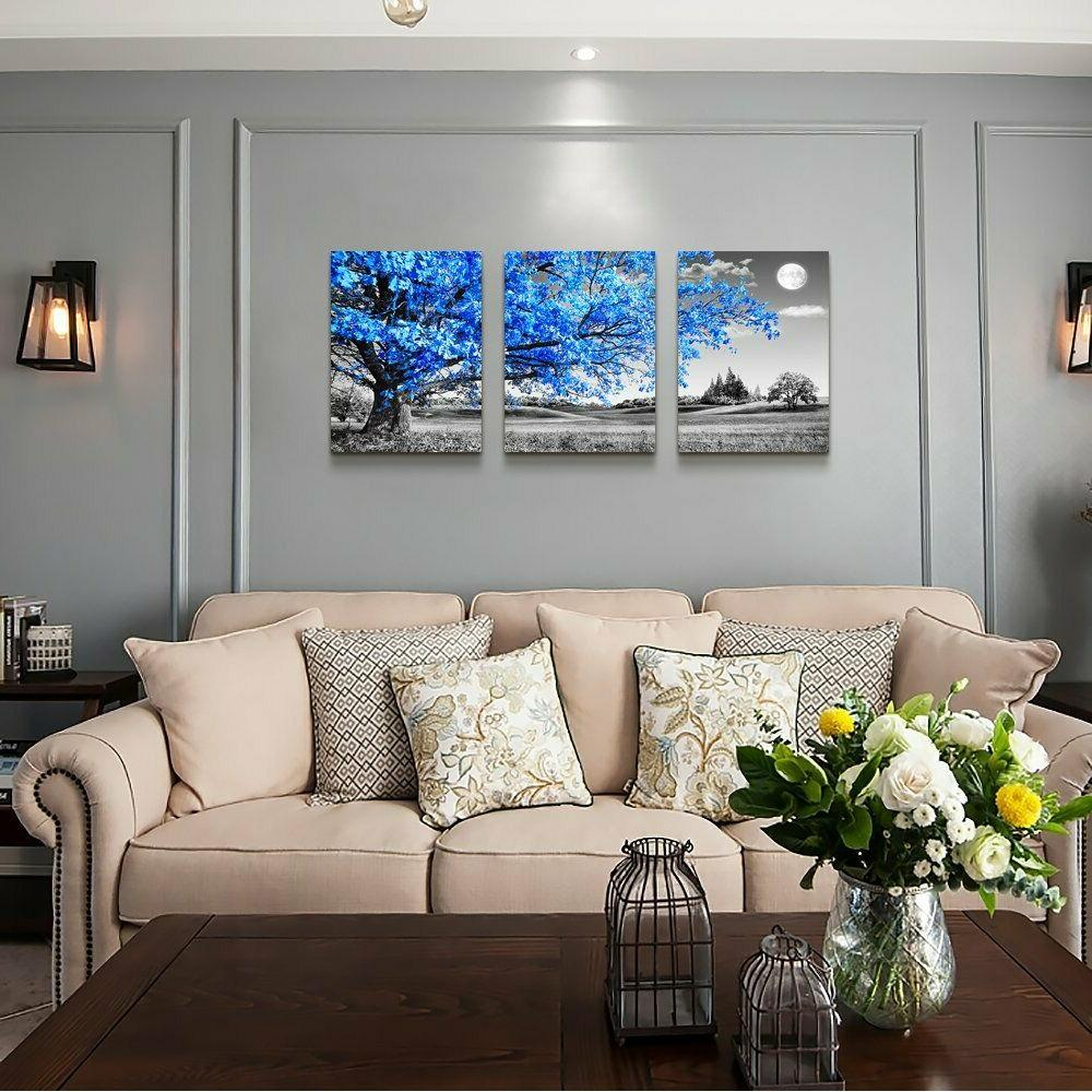 Wall Art For Living Room Blue Canvas Wall