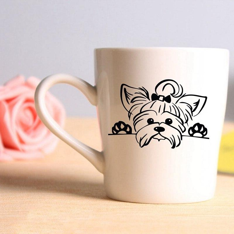 Yorkshire <font><b>Decals</b></font> <font><b>Car</b></font> , Puppy Peeking Yorkie Dog Breed Pet Cup Laptop Decoration