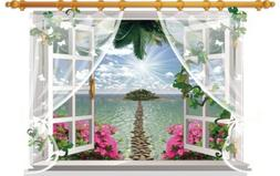 Large 3D Path to island ocean meditation window view adhesiv