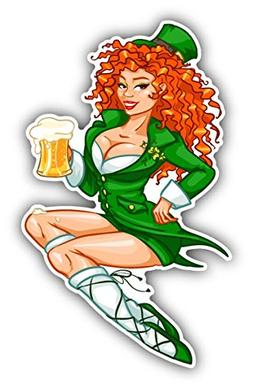 Leprechaun Girl Beer Saint Patrick's Day Sticker Decal Desig